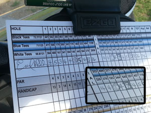 Earl Phillips' Hole-in-One Scorecard
