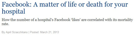 Facebook links linked to mortality rates at hospitals