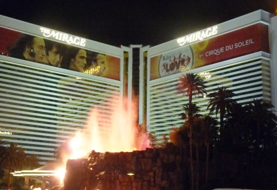 Volcano erupting outside the Mirage