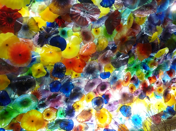 Glass flowers on the Bellagio lobby ceiling