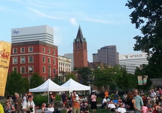 View of downtown Cincinnati from Washington Park